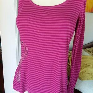 Long sleeve t-shirt pink stripe size PL